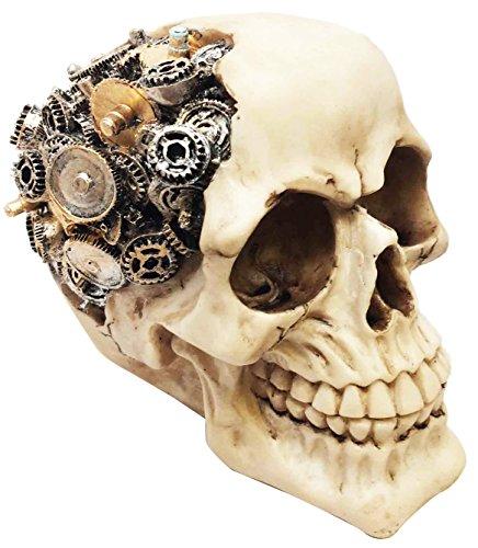 Ebros Steampunk Cyborg Protruding Gearwork Human Skull Statue Sci Fi Clockwork Gear Design Skeleton Cranium Figurine