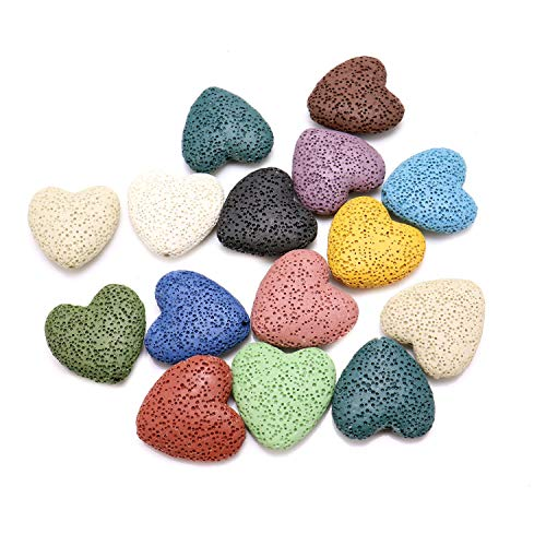 JETEHO 15PCS Heart-Shaped Lava Stone Beads Colored Volcanic Gemstone Beads DIY Jewelry Necklace Bracelet Earrings Accessories