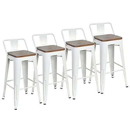 Terrific Dekea 24 Inch Low Back Bar Stools With Wooden Top Counter Height Metal Stool Set Of 4 For Kitchen Barstools White Creativecarmelina Interior Chair Design Creativecarmelinacom