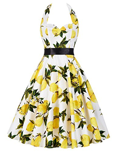 GRACE KARIN Halter Neck Wedding Party Dress Lemon Pattern Swing Dress 75-30, XL
