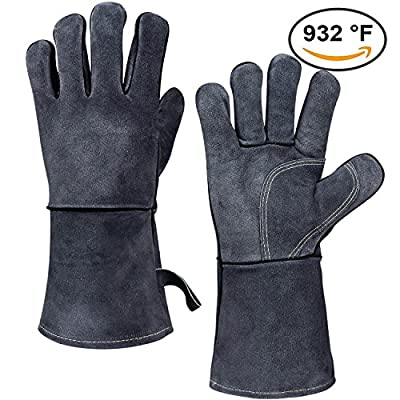 OZERO Welding BBQ Grill Gloves with Insulated Cotton and Long Sleeve for Grilling/Barbecue/Baking/Oven/Fireplace - One-Size-fit-Most