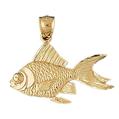 14K Yellow Gold Goldfish Pendant Necklace - 30 mm 14k Yellow Goldfish Pendant