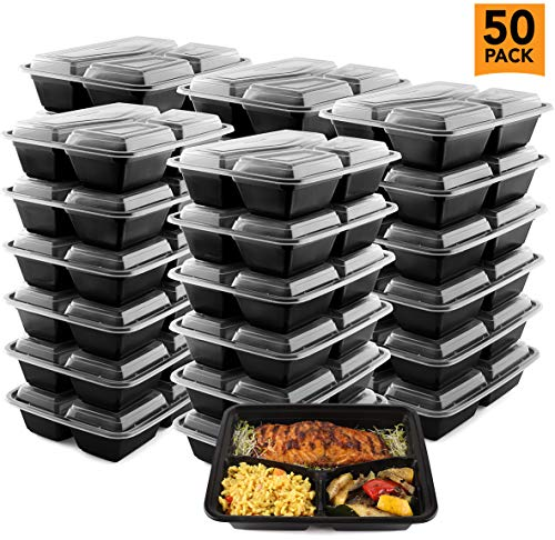 50-Pack Meal Prep Plastic Microwavable Food Containers meal prepping & Lids. 3 Comparment 32 OZ. - Black Rectangular Reusable Storage Lunch Boxes - BPA-free Food Grade - Freezer & Dishwasher Safe