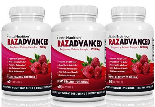 RAZADVANCED Raspberry Ketones Complex Three Bottle Pack 180 Capsules 1200mg Per Serving All-Natural Veggie Caps Helps Burn Fat* Suppresses Appetite* Super Antioxidant Free Shipping