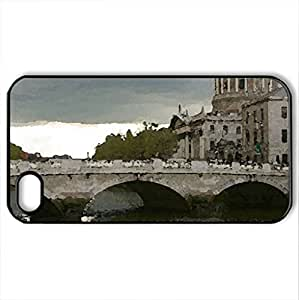 Liffy River - Case Cover for iPhone 4 and 4s (Bridges Series, Watercolor style, Black)