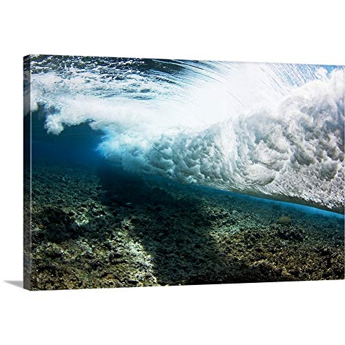 GREATBIGCANVAS Gallery-Wrapped Canvas Entitled Micronesia, Yap, Underwater View of Surf Crashing On The Reef by Dave Fleetham 18