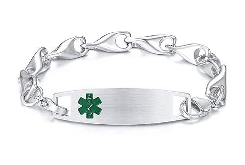 b7f247a95f3e Amazon.com: PJ Jewelry Free Engraving Unisex Emergency Medical Alert ...