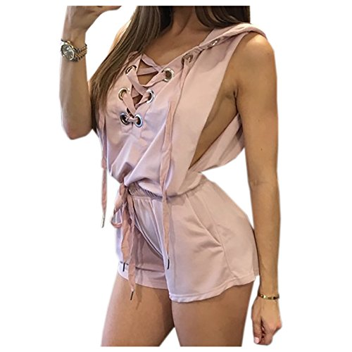 3d0701c4e6e0 Image Unavailable. Image not available for. Color  TOOGOO(R) Rompers Womens  Hooded Playsuits Lace Up Summer Sexy Sleeveless Short Romper Beach