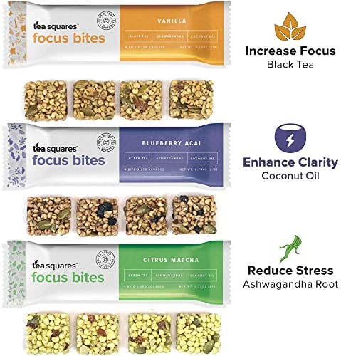 Energy Bites for Mental Energy, Focus, and Clarity (Variety Pack - 12 count) – 100 cal, 4g plant-protein, 3-4g sugar, Delicious Tasting, Protein Bars, Energy Bars, Gluten Free, Vegan - TeaSquares
