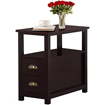 Yaheetech chairside end table with 2 drawer - Narrow side tables for living room ...