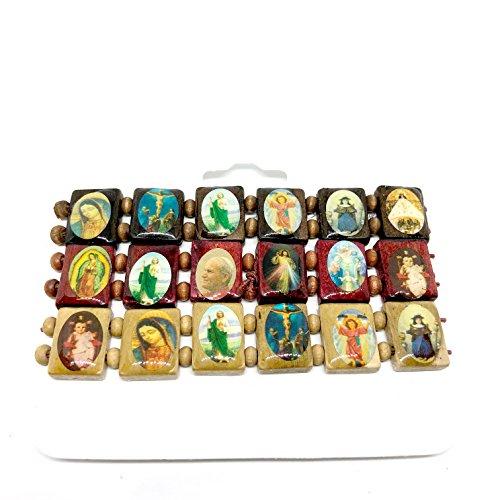 Pc Wood Guardian - Divine Guardian Bracelets - Rosary Wood Saint Bead Bracelet Mix Saints Religion Rosary Wooden Bracelet