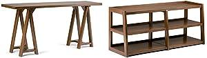 Simpli Home Sawhorse Wide Console Sofa Table, Medium Saddle Brown + Simpli Home Sawhorse Wide TV Media Stand, Medium Saddle Brown :Bundle