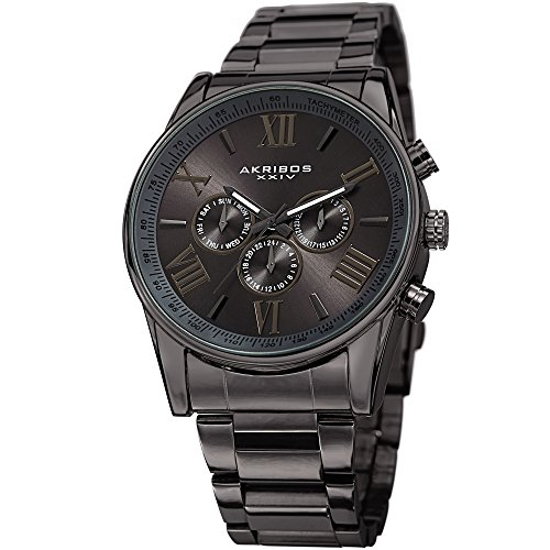 Watch Quartz Bright Mens (Akribos XXIV Men's AK736 Ultimate Swiss Quartz Multi-Function Stainless Steel Bracelet Watch (Gun Metal))