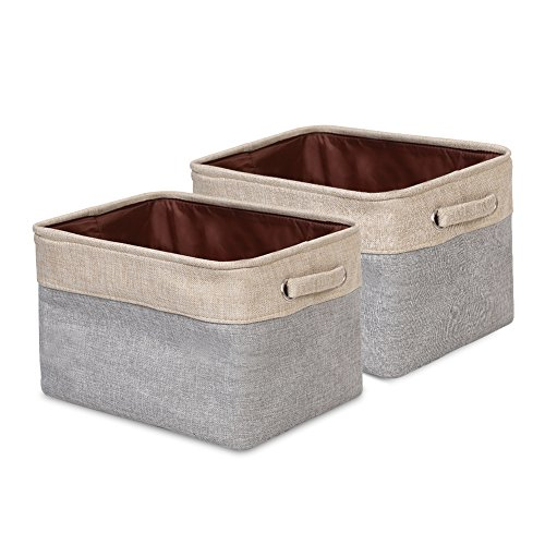 ANNSY Storage Cube Bins Collapsible Fabric Basket 2-pack Foldable Organizer Grey/ Brown Storage Box with handles for Home and Office