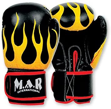 2oz /– 16oz Thumb Lock Design Black Boxing//Kickboxing//Thai Boxing Gloves with Flame Imprint Design and Moulded Foam Padding M.A.R International Ltd Rex Leather