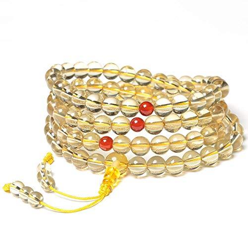 MGZDH Lemon Yellow Natural Citrine Bracelet Multi-Circle Male and Female Rosary Beads Bracelet Hand String