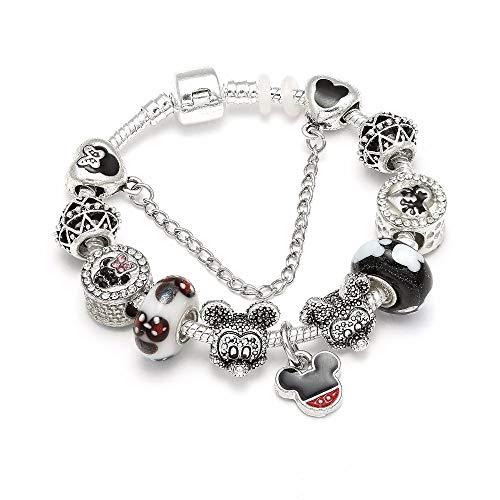 MIADEAL Mickey Mouse Charms Bracelet, Pandora Compatible DIY Kids ()