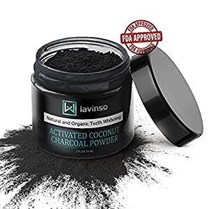 Natural Charcoal Teeth Whitening Powder - Made In USA - With Organic Coconut Activated Charcoal - Tooth Whitener - Effective than Charcoal Toothpaste Kit & Gel from Lavinso
