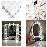 Hollywood Style LED Vanity Mirror Lights Kit, Dimmable Mirror Light Bulbs with US Plug in Adapter, Makeup Light Strip for Dressing Table, Bathroom, Decorative Walls, CRI>90(4000K Natural white 10 Bulbs)