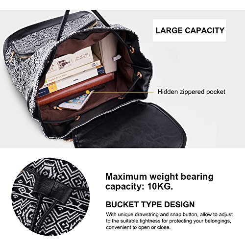 Vibiger Stylish Canvas Backpack Casual Bag Drawstring Backpacks School Bag Daypack with Delicate Printing for Women (B-Black) by VBIGER (Image #4)