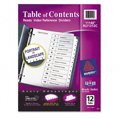 Avery® Ready Index® Table of Contents Dividers with Black