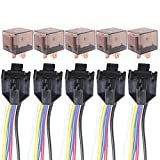 Etopars™ 5 X Car Vehicle Auto Truck 12V 12 Volt DC 80A AMP Transparent Relay Kit SPDT 5Pin Socket Plug Wire