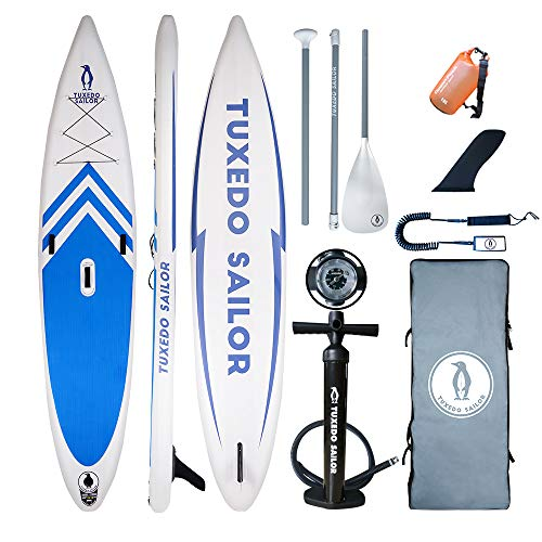 """Tuxedo Sailor Inflatable Stand Up Paddle Board(12'6""""x31 x6)All Skill Levels Everything Included with Stand Up Paddle Board, Adj Paddle, Pump, ISUP Travel Backpack, Leash, Repair Kit, Waterproof Bag"""