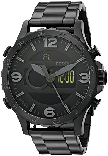 Fossil Men's JR1507 Nate Analog-Digital Black Stainless Steel Watch