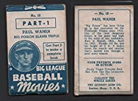 1938 Goudey baseball movies (Baseball) Card# 10 Paul Waner of the Pittsburgh Pirates VGX Condition