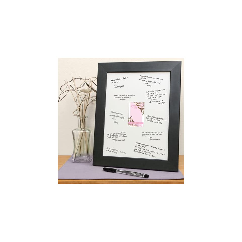 Cherry Blossom   Personalized Baby Shower Print with Signature Mat