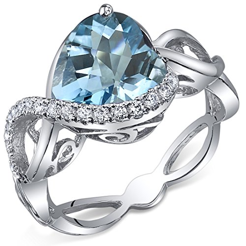 Swirl Design 3.00 Carats Heart Shape Swiss Blue Topaz Ring in Sterling Silver Rhodium Finish Size 5 -