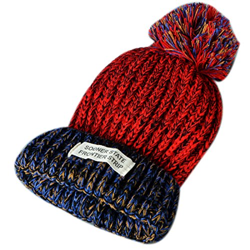 Women Letter Hat Wool Knitted Wine Red - 9