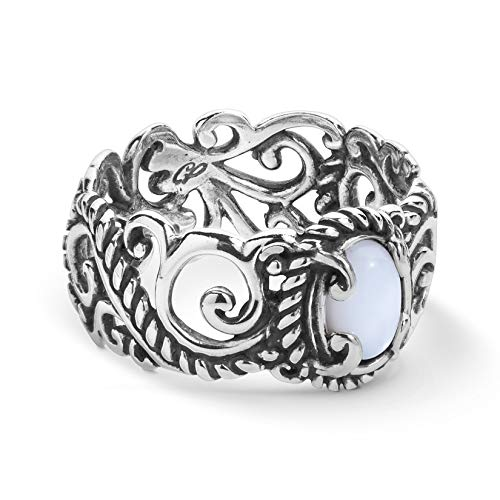 Carolyn Pollack Sterling Silver Mother of Pearl Rope and Scroll Band Ring Sizes - Pearl Scroll Design
