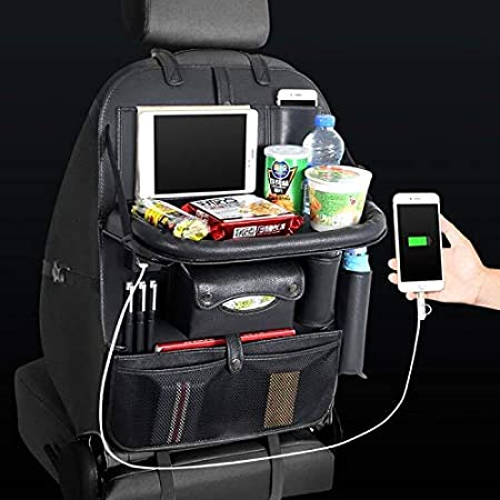 Yinleader Car Organiser PU Waterproof Seat Back Protectors 4 USB Charge Ports iPad Mini Holder Multi Pockets Including Tissue Box tray platform With table
