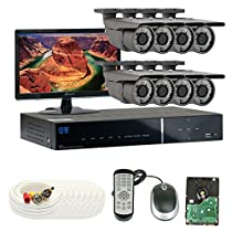 GW Security Inc. 8CHE4 8-Channel H.264 960H and D1 Realtime DVR Lens Security Camera System (Black)