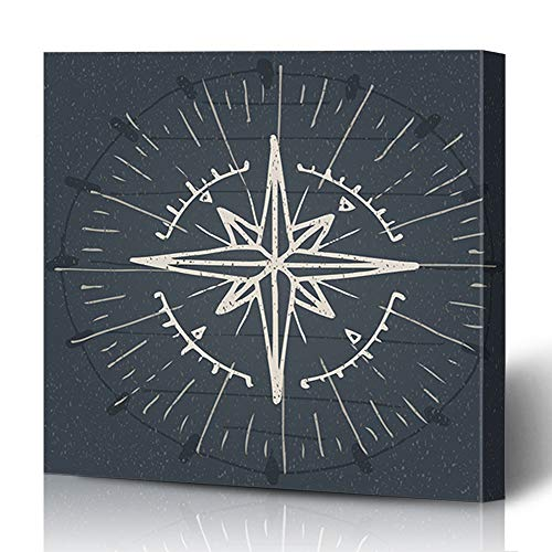 (Ahawoso Canvas Prints Wall Art 12x16 Inches Discovery Compass Vintage Nautical Abstract Drawn Instrument Hand Map Rose Travel World Wind Decor for Living Room Office Bedroom)