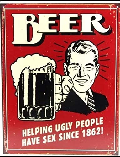 ShopForAllYou Vintage Decor Signs Beer Helping Ugly People Have Sex Since 1862 Humor Wall Decor Metal Tin Sign New ()