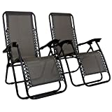 Charles Bentley Set Of 2 Reclining Zero Gravity Sun Lounger Folding Garden Chairs Textilene Grey