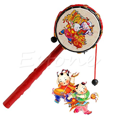 1pcs Kids-Cartoon-Hand-Bell-Plastic-Chinese-Traditional-Rattle-Drum-Spin-Toy-For-Baby