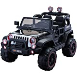 Electric 2 Seater for Kids - Ride On Car - 12V Battery Powered Ride On Cars - With Remote Control Car - Battery Operated Ride On Toy For Kids – Off-road Truck MP3 Radio Black Colored