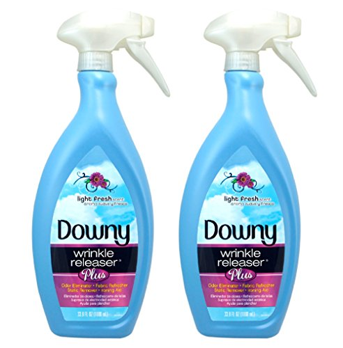 Traveler Beauty Case (Downy Wrinkle Release Spray Plus, Static Remover, Odor Eliminator, Fabric Refresher and Ironing Aid, Light Fresh Scent, 33.8 Fluid Ounce (Pack of 2))