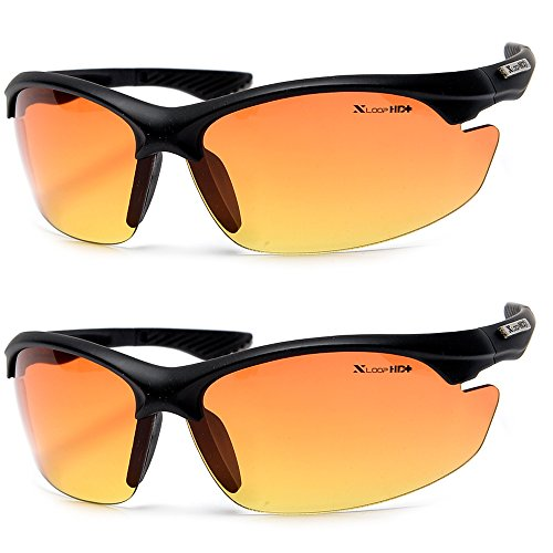 Xloop HD Vision High Definition Anti Glare Driving Lens Sunglasses Wrap Semi Rimless Sports Eyewear (2 Pack ()