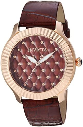 Invicta Angel stainless steel ladies watch with leather-synthetic strap, brown, 19 (model: 25745)