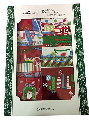 Hallmark 12-Piece Expressions Gift Bag Assortment SNOWMAN/SANTA by Hallmark