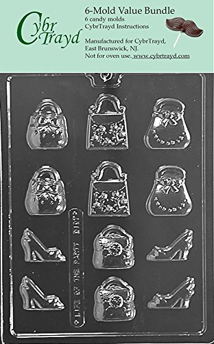 152bf9d15e7e0a Image Unavailable. Image not available for. Color  CybrTrayd D107-6BUNDLE  Purses and Shoes Chocolate Candy Mold with Exclusive Copyrighted Chocolate  Molding ...