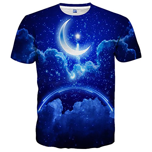 Hgvoetty Unisex 3D Moon Printed Casual Blue T-Shirts M (Shirts T Moon)