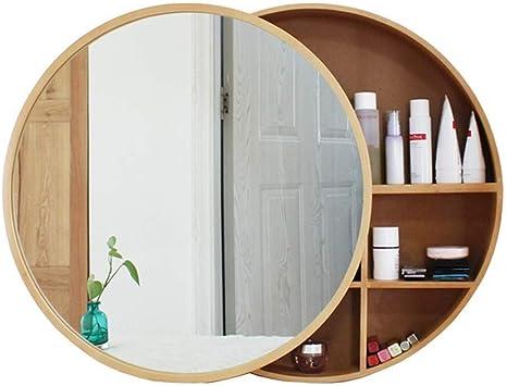 Mgeu Bathroom Mirror Round Cabinet Bathroom Wall Storage Cabinet Sliding Mirror Medicine Cabinet With Sliding Stainless Steel Wood Frame Colour Wood Colour Size Diameter 70 Cm Amazon De Kuche Haushalt