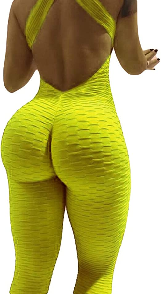 Women S High Waist Ruched Butt Lift Yoga Pants Jumpsuit Stretchy Skinny Tummy Control Workout Gym Leggings L Yellow Amazon Ca Clothing Accessories