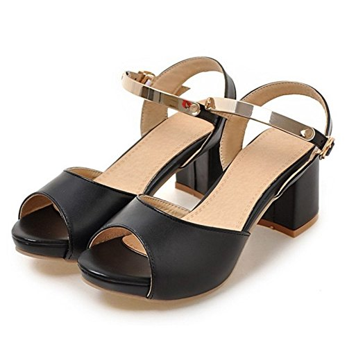 TAOFFEN Mujer Peep Toe Sandalias De Fiesta Moda Tacon Ancho Tacon Medio Al Tobillo Zapatos Negro