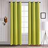 Aquazolax Readymade Ring Top Thermal Insulated Solid Blackout Drapes Curtains for Baby Bedroom, 2 Panels, 42 x 84 Inch, Fresh Green